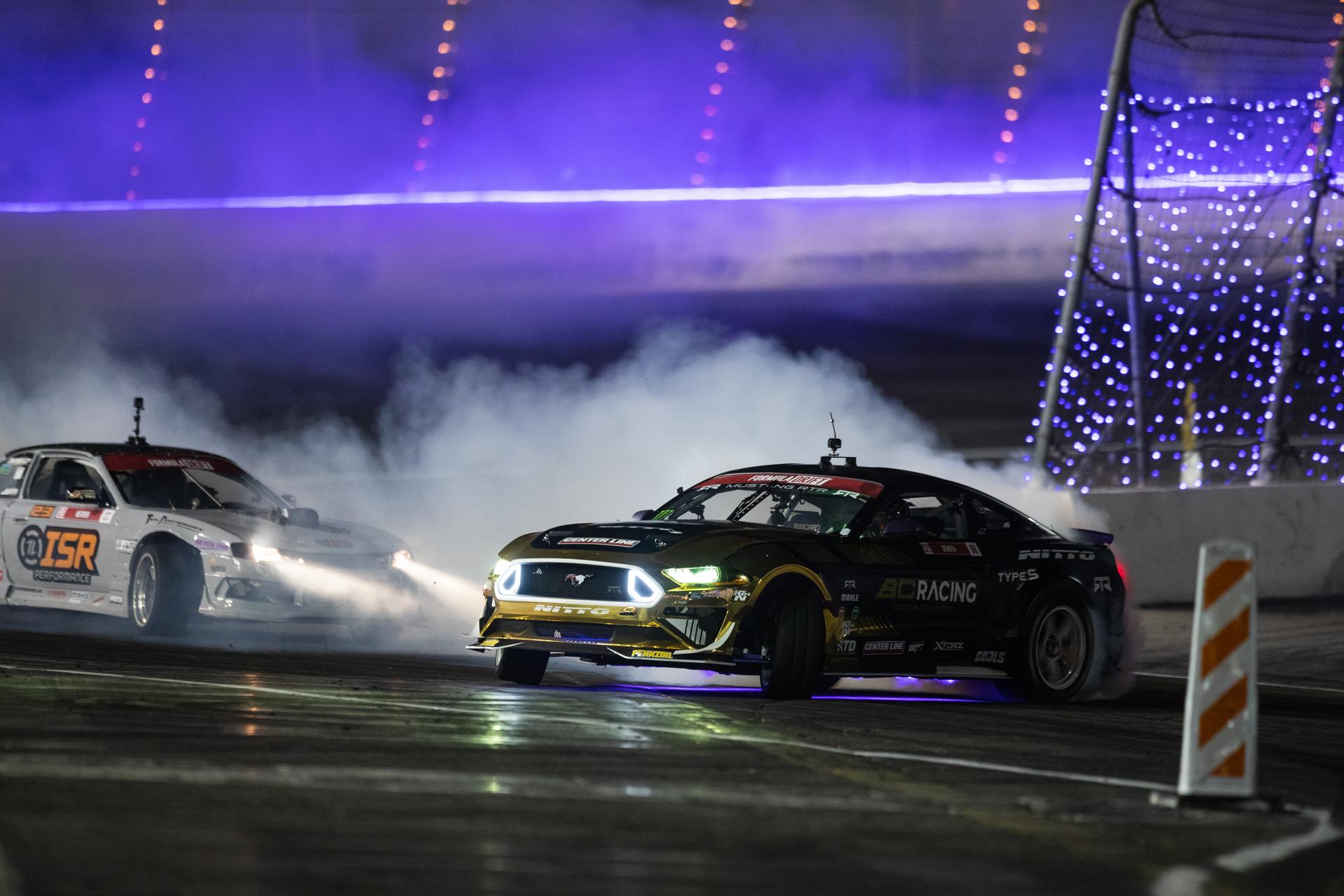 BC Racing Chelsea Denofa tandem drift leading night